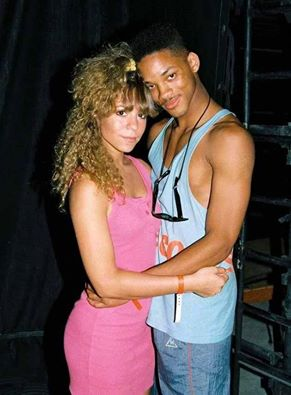 Deze foto is ALLES. Mariah (pre-borderline, met scrunchy) en Will Smith (pre-Scientology)